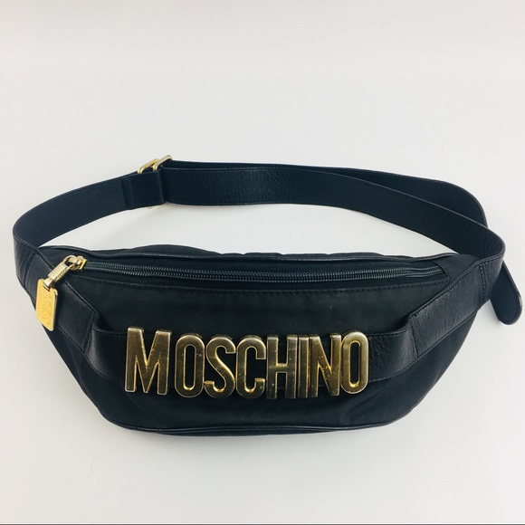 fcc297580 Vintage Moschino Redwall Fanny Pack Black Leather.  M_5b1fe4fe7386bc1dcc19f958